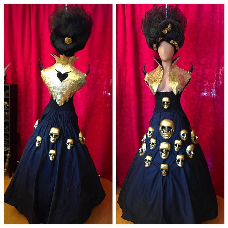 Golden Faces Gown – Ave Rose Art